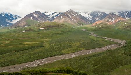 Mountain range view in Denali Park, Alaska