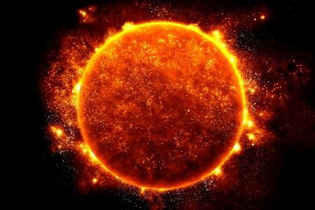 De Zon, halverwege het Stockfoto
