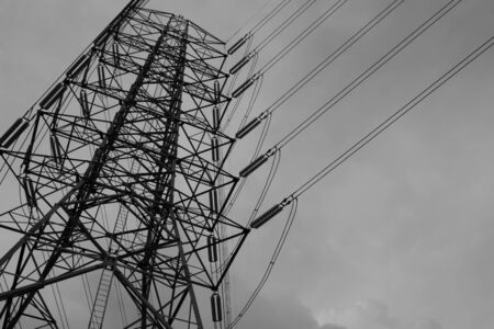 steelwork: energy and high voltage powerline Stock Photo