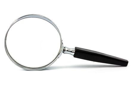 Magnifying glass isolated on white Stock Photo