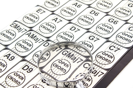 Use Magnifying glass Music sheets of Guitar for music. Stock Photo - 15462791