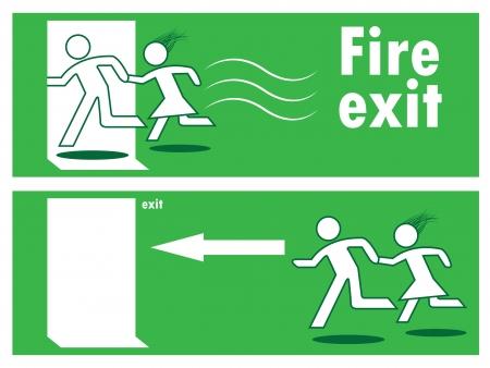 Emergency fire exit door and exit door, sign with human figure