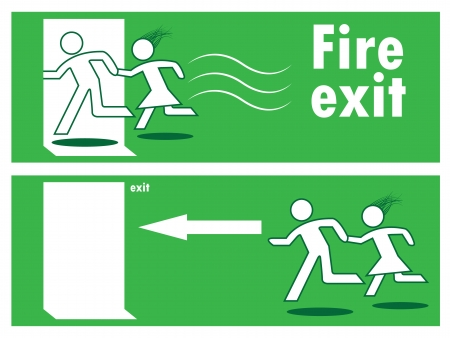 emergency exit icon: Emergency fire exit door and exit door, sign with human figure
