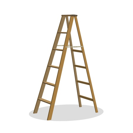 wooden work: Illustration of various isolated ladders, stepladders -  set for your design