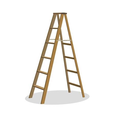 escaleras: Ilustraci�n de diversas escalas aisladas, escaleras de tijera - establecido para su dise�o