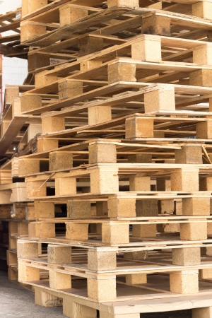 detail of stock wood pallet under sun light Stock Photo - 15691208