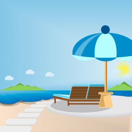 transat: Chaise longue et parasol