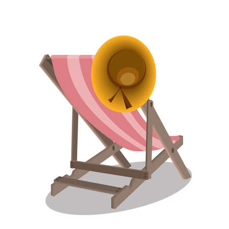 Beach chairs and hat  Vector