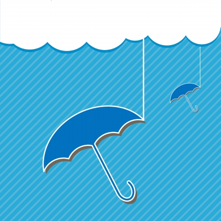 Blue umbrella and Cloud Vector