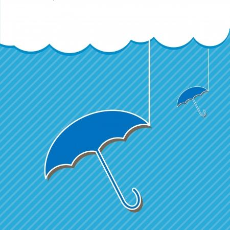 Blue umbrella and Cloud Stock Vector - 16269431