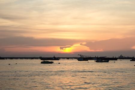 Sunset at sea fishing of thailand Stock Photo - 16364107