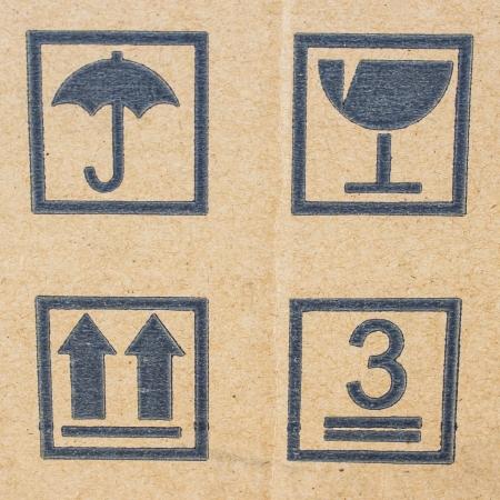 cardboard box background with mail symbols Stock Photo - 16505227