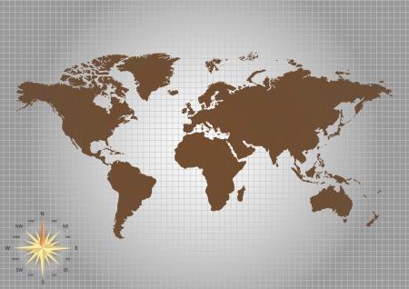 Mappa del mondo e bussola di Vertor