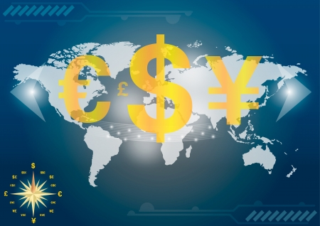 Major currencies on world map Vector