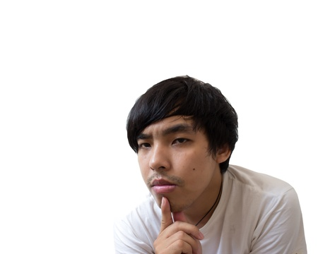 I got an idea  - Surprised young man isolated on a plain white background Stock Photo - 16753550