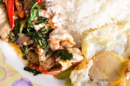 Stir Basil Pork shrimp thai cuisine Stock Photo - 16813700