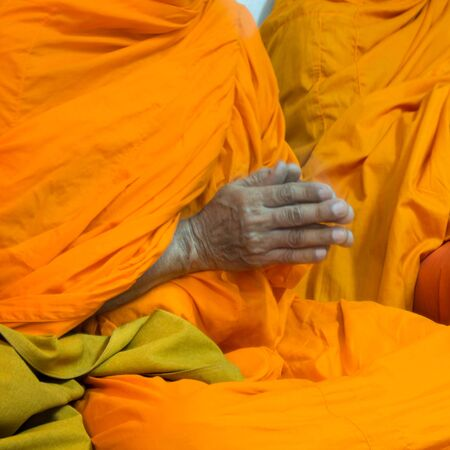 Put the palms of the hands together in salute , monks, thailand photo