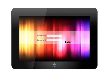 Login Tablet PC on white background Illustration
