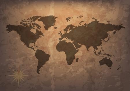 continente: Antiguo mapa y brújula de vector