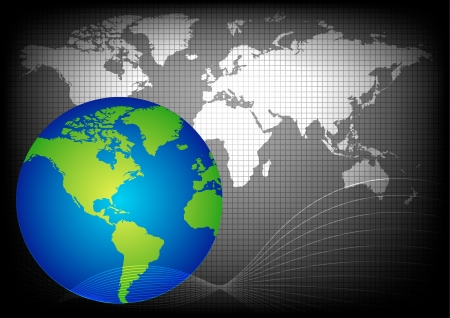 planisphere: globe and map, vector background