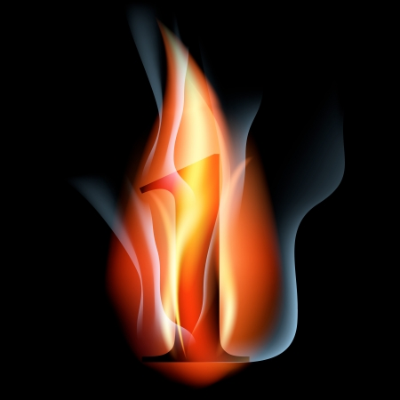 arabic number: fire burning arabic number Illustration