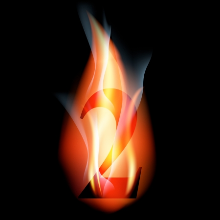 arabic numeral: fire burning arabic number Illustration