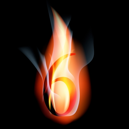 arabic number: fire burning arabic number Illustration