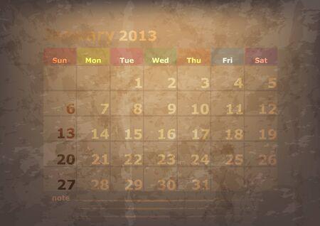 antique calendar of January Stock Vector - 17289926