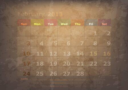 antique calendar of February Stock Vector - 17289915