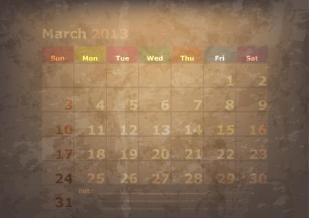 antique calendar of March Stock Vector - 17289923