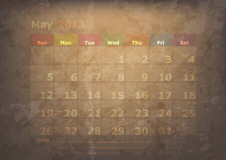 antique calendar of May Vector