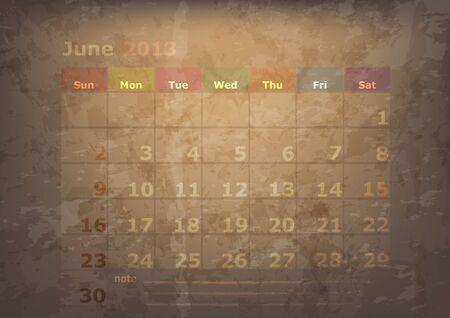 antique calendar of June Stock Vector - 17289914