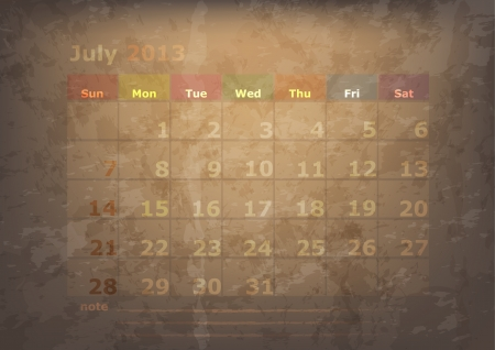 antique calendar of July Vector