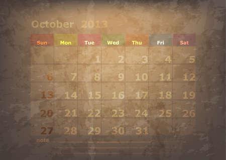 antique calendar of October Stock Vector - 17289922
