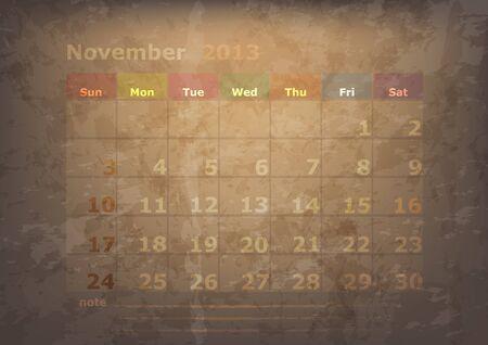 antique calendar of November Stock Vector - 17289920