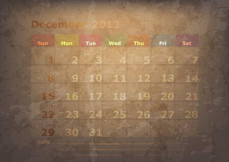 datebook: antique calendar of December Illustration