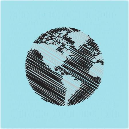 world trade: dibujados a mano garabatos globo