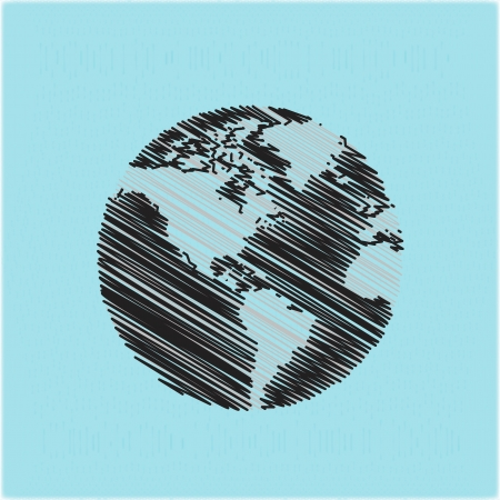 hand drawn globe doodles Vector