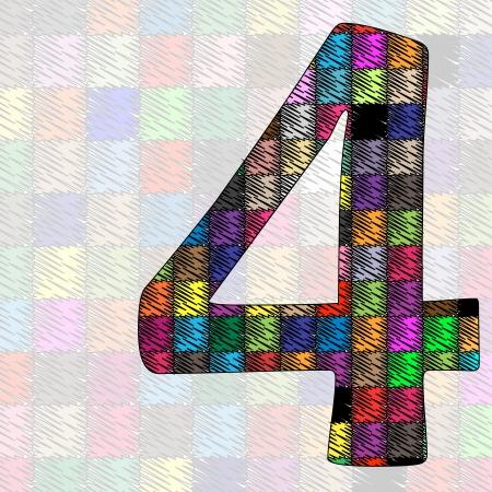 cijfer vier: nummer vier patroon van het weefsel