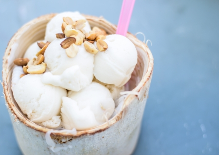 coconut Ice Cream with nuts Stock Photo