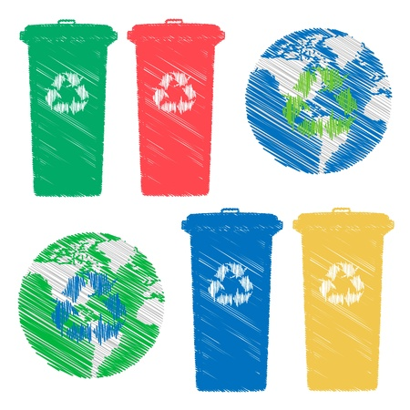 hand drawn Recycle bin doodles Stock Photo - 17841346