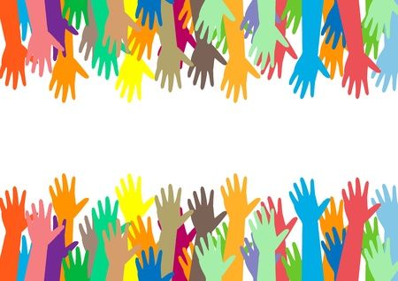 handen van verschillende kleuren. culturele en etnische diversiteit, vector illustration