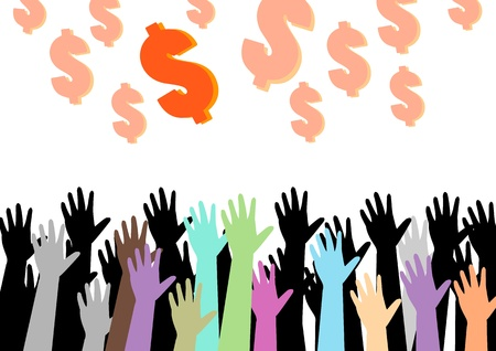 hands of money vector illustration illustration
