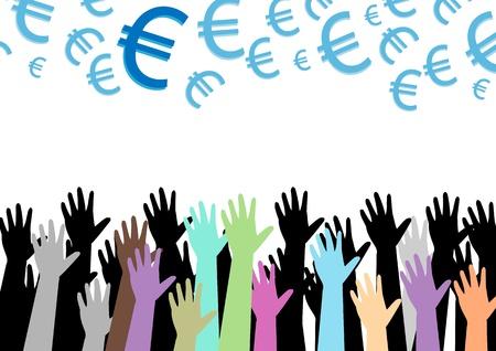 hands of money vector illustration illustration