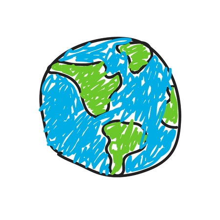 hand drawn globe eco doodles Stock Photo