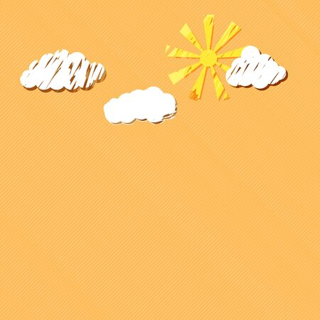 sun and clouds on background orange Vector