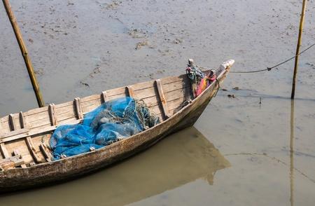 sunk: ruin wooden boat sank on beach
