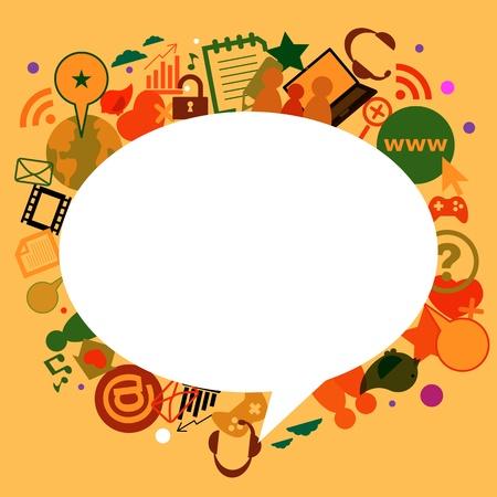 Sociaal netwerk achtergrond met media iconen Stock Illustratie