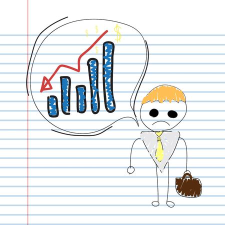 marketers: male with loss graph notebook paper Illustration