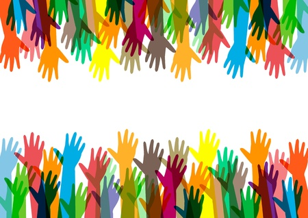 community help: hands of different colors  cultural and ethnic diversity  Illustration